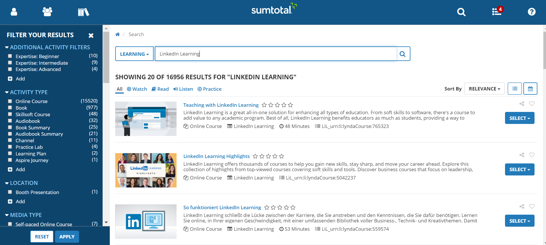 Search for LIL content in SumTotal with all supported metadata